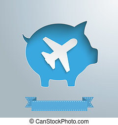 Piggy Bank Plane - Piggy bank hole with jet on the gray...