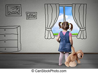 Child girl with toy bear look in drawn window, dream concept...