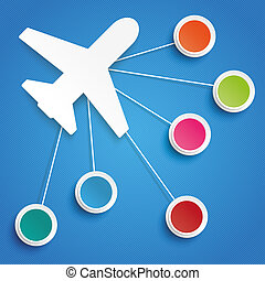 Plane 6 Colored Circles Infographic - Paper plane with...