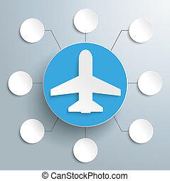 Plane Circle 8 Options - White paper plane with circles on...