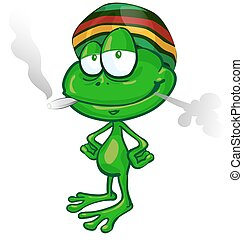 jamaican frog cartoon on white background