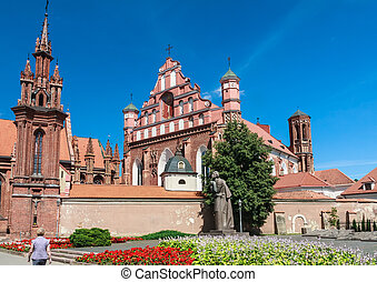 A monument to Adam Mickiewicz, Catholic church of St. Anne's...