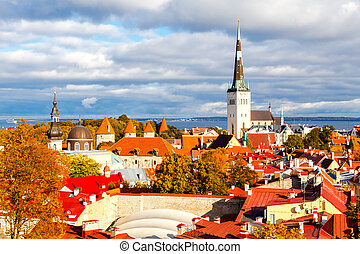 Tallinn Estonia Old city - View of the old city streets,...