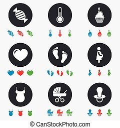 Pregnancy, maternity and baby care icons. Candy, baby...