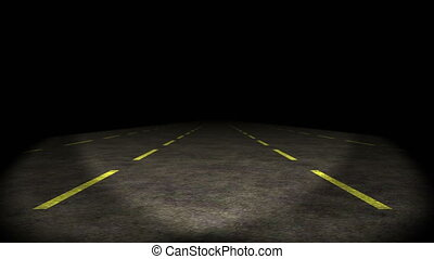 quot;lost highway, car going on empty road, stable, 4kquot;...