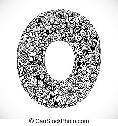 Doodles font from ornamental flowers - letter O. Black and white