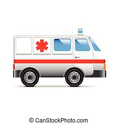Ambulance isolated on white vector - Ambulance isolated on...