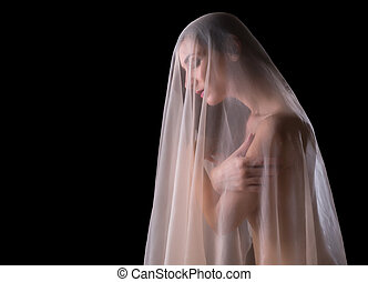 See through veil - Implied nude image of a woman covered...