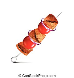 Barbecue skewer isolated on white vector - Barbecue skewer...