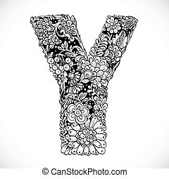 Doodles font from ornamental flowers - letter Y. Black and...