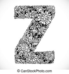 Doodles font from ornamental flowers - letter Z. Black and white