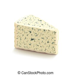 Blue cheese isolated on white vector - Blue cheese isolated...