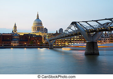 St Paul's cathedral and Millennium bridge in London in a...