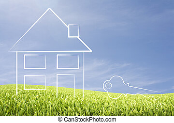 Home with key illustration - Home with symbolic key...