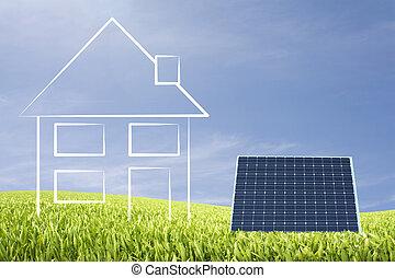 Eco house with sun energy illu