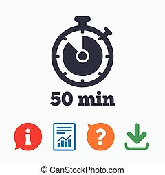 Timer sign icon 50 minutes stopwatch symbol Information...
