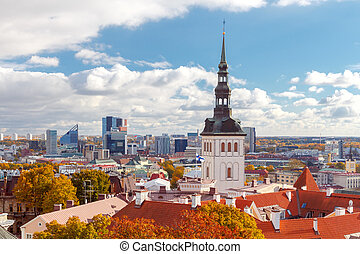 Tallinn. View of the town from the hill Toompea. - View of...