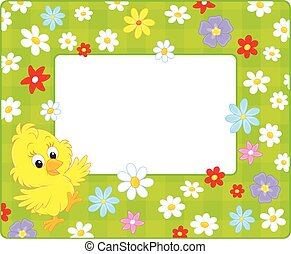 Border with a chick - Horizontal vector frame with a little...