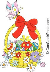 Easter basket - Pink butterfly on an Easter basket with...