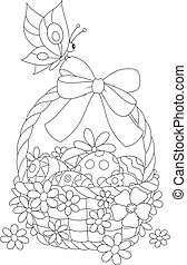 Easter basket - Black and white vector illustration of a...