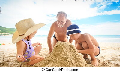 Grandpa Little Girl Boy Squat Make Sand Heap on Beach by...
