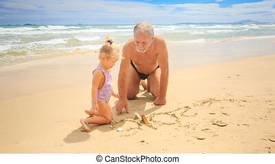 Grandpa Little Blond Girl Sit on Sand Water Washes Drawing...