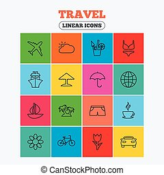 Travel icons. Ship, plane and car transport.