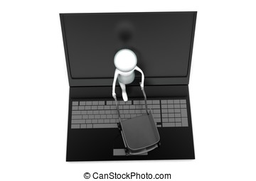 3d man moving shopping trolly in laptop concept