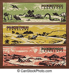 Dino banners - Prehistoric theme vector banner design with...