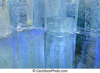 Glacial transparent blocks of ice with patterns - Large...