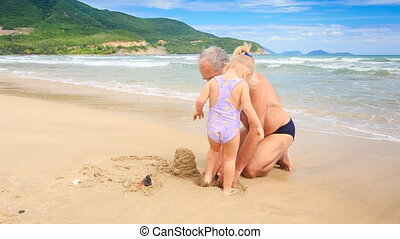 Grandpa Little Blond Girl Start Build Sand Castle on Beach -...