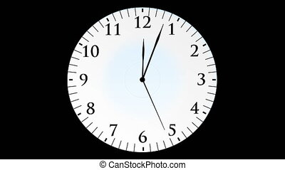 quot;Animation, clock time with seconds, black background,...