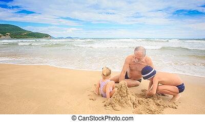 Grandpa Blond Girl Boy Dig Hole Build Sand Castle on Beach -...