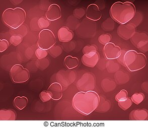 Valentine´s Day background with red hearts. Vector design for your greeting card.