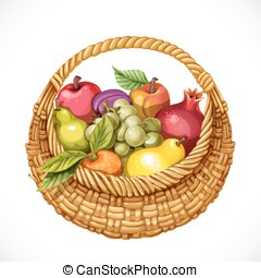 Realistic round wicker basket filled with fruits...