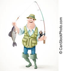 Fisherman in rubber boots with a caught fish and a fishing...