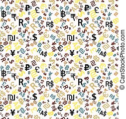 Seamless pattern major world currencies