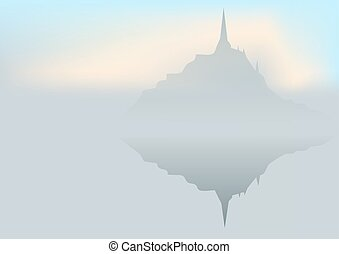 mont st michel and reflection in water