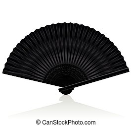 Handheld Fan Black - Black handheld fan. Isolated vector...
