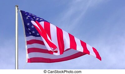 American Flag Waving in the wind, 4Kvideo