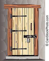 Padlocked Cottage Door - An old cottage wooden door with...