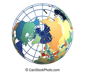 Political Globe, centered on the North Pole
