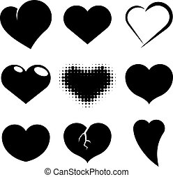 Black and white heart shapes vector set.