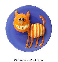divertido, placa, púrpura, aislado, gato, fruta, Plano de...