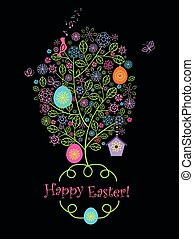 Beautiful easter greeting card with blossoming tree