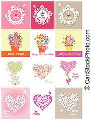 Collection of greeting cards for mothers day