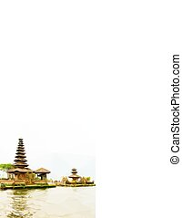 Bedugul Bali Background with famous Pura Ulun Danu Beratan...