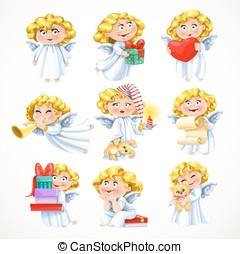 Cute little blond angel with gifts and toys isolated on white background