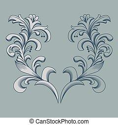 Vintage floral frame. Element for design.