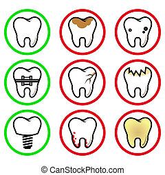 icons teeth - vector set of abnormalities of the teeth in a...